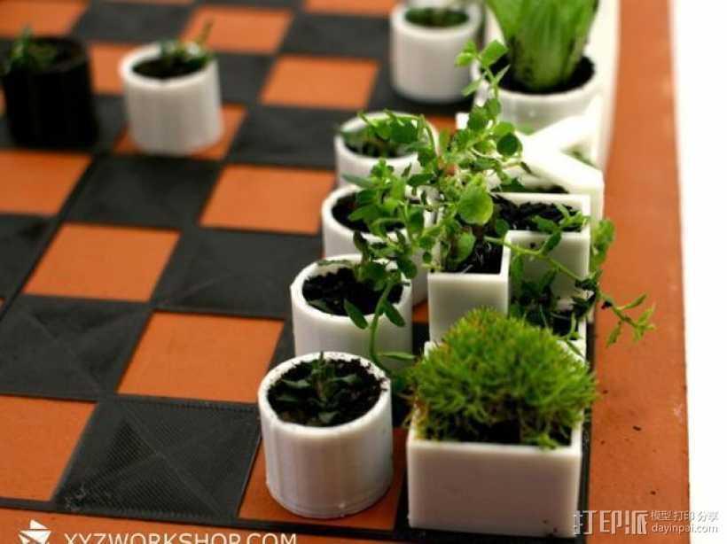小型植物棋盘 3D打印模型渲染图