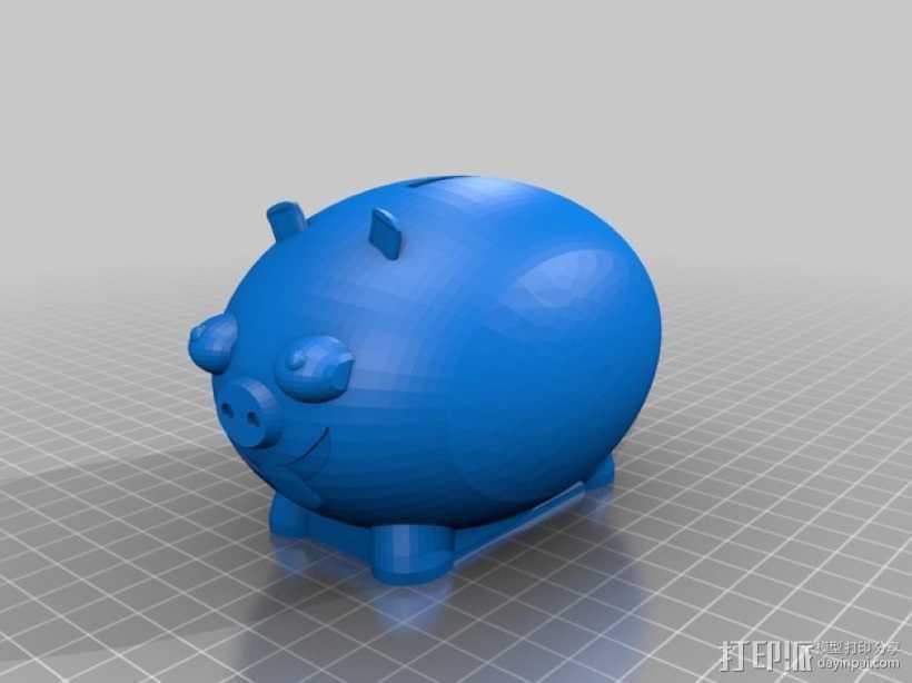 胖猪储蓄罐 3D打印模型渲染图
