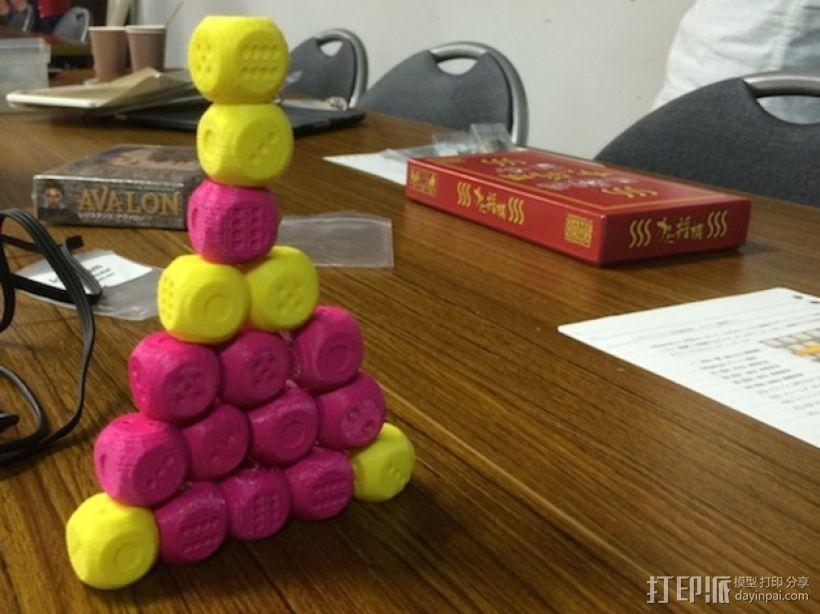 基于斐波纳契数列的骰子模型 3D打印模型渲染图