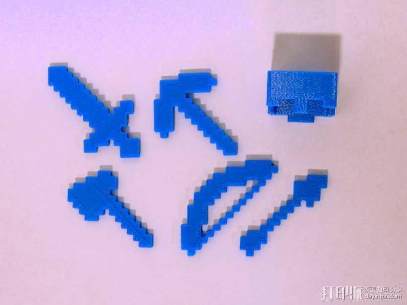 游戏《Minecraft》中使用的一系列道具模型 3D打印模型渲染图