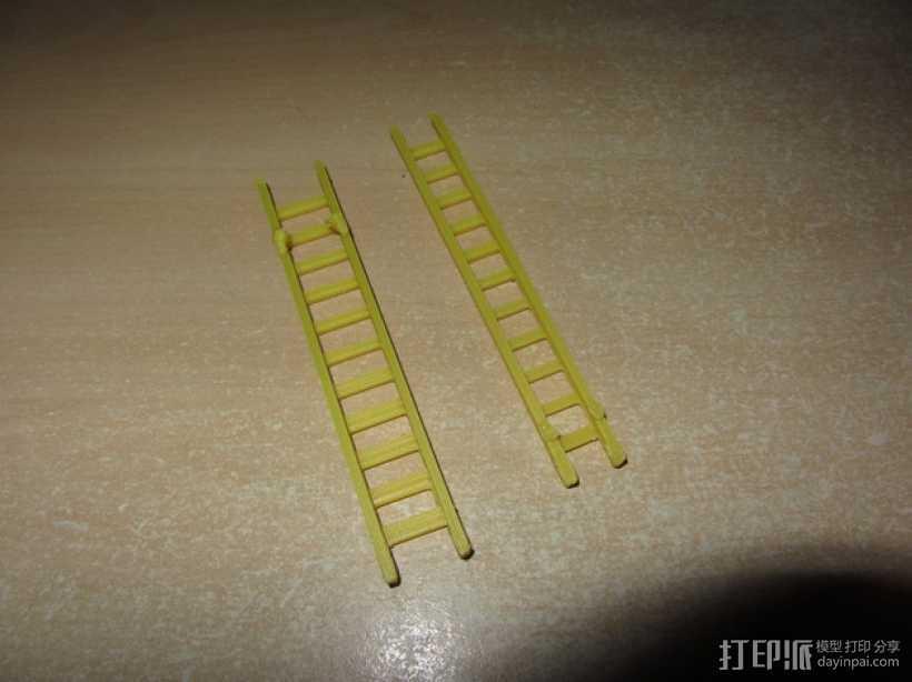 参照乐高积木玩具的消防车梯 3D打印模型渲染图