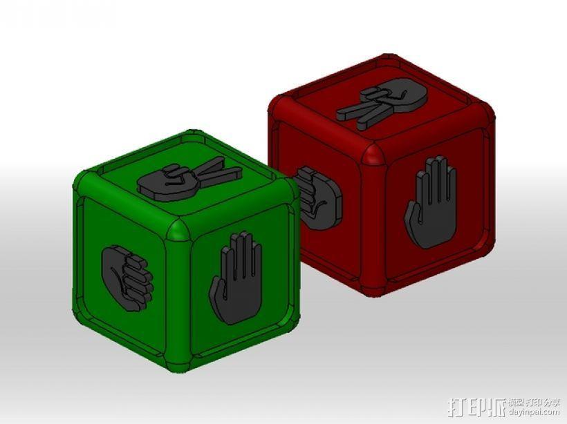 """带有""""石头剪刀布""""标志的骰子 3D打印模型渲染图"""