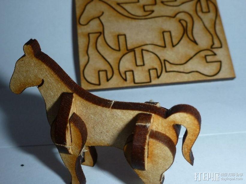采用激光切割的迷你马驹 3D打印模型渲染图