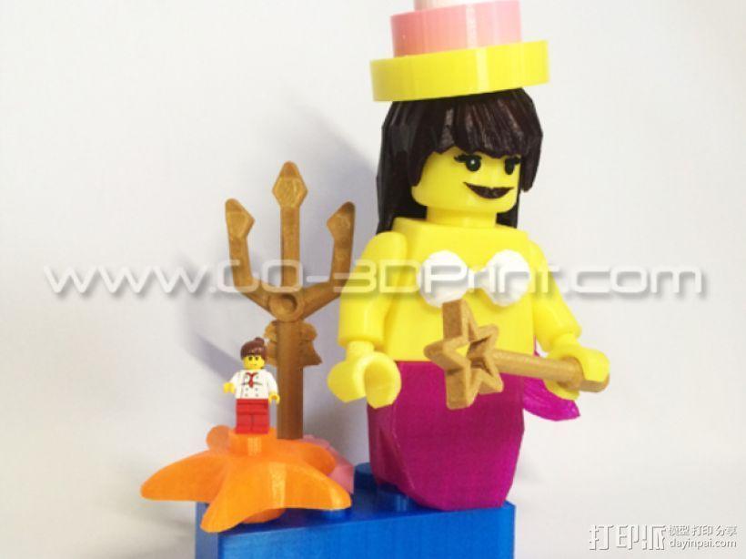 乐高玩具中迷你美人鱼模型 3D打印模型渲染图