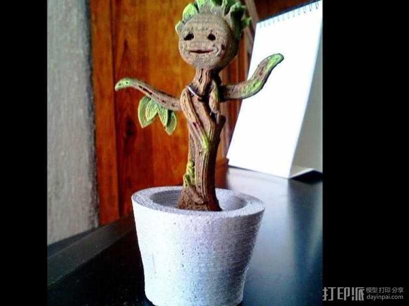 会跳舞的树精Groot 3D打印模型渲染图