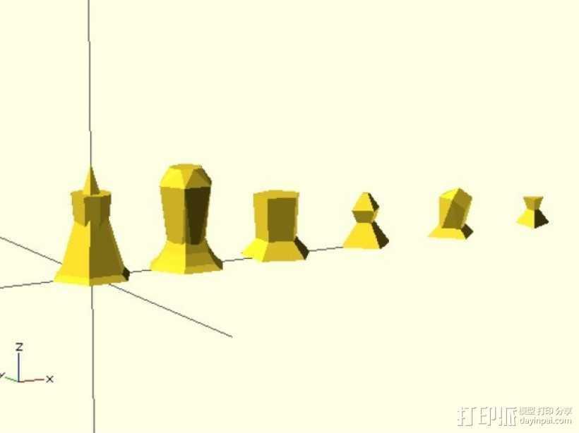 抽象化的象棋棋子 3D打印模型渲染图