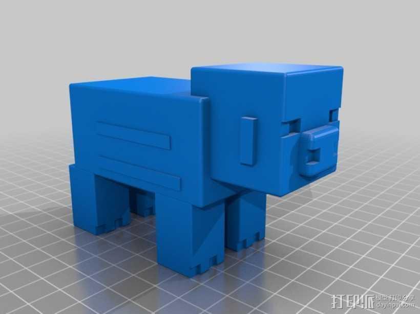 游戏《Minecraft》中小猪玩偶模型 3D打印模型渲染图