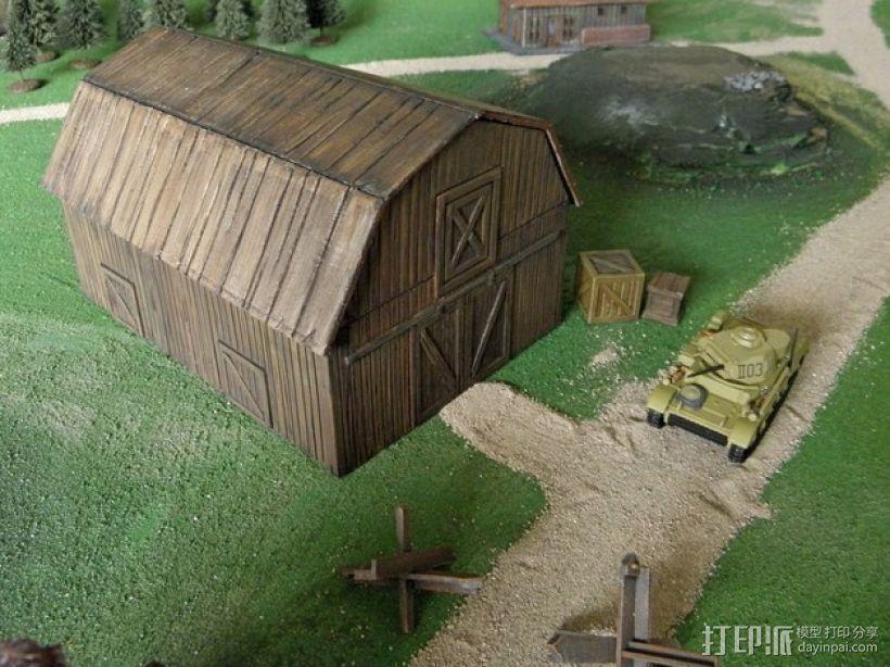 战争游戏中仓库模型 3D打印模型渲染图