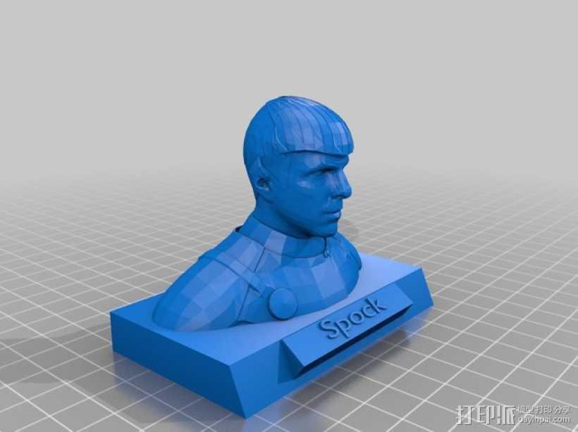 斯波克半身像 3D打印模型渲染图