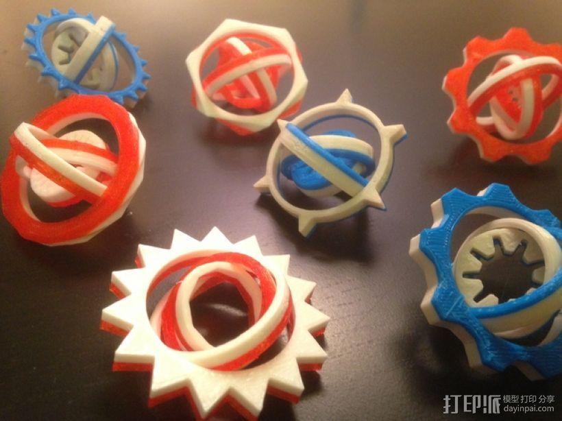 可定制化的数字陀螺仪 3D打印模型渲染图