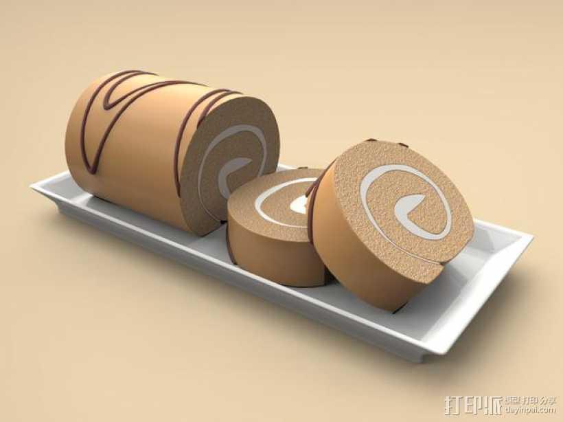 夹心蛋糕卷 3D打印模型渲染图