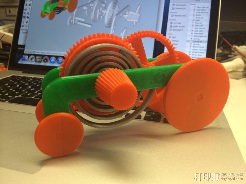 PLA汽车弹簧 滚动底盘 3D打印模型渲染图