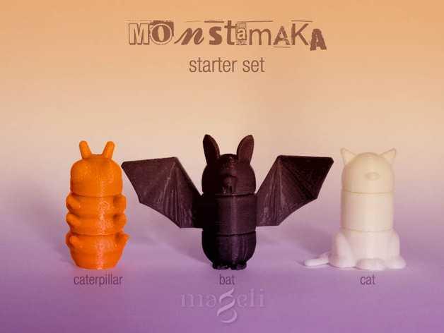 Monstamaka动物玩具套件 3D打印模型渲染图