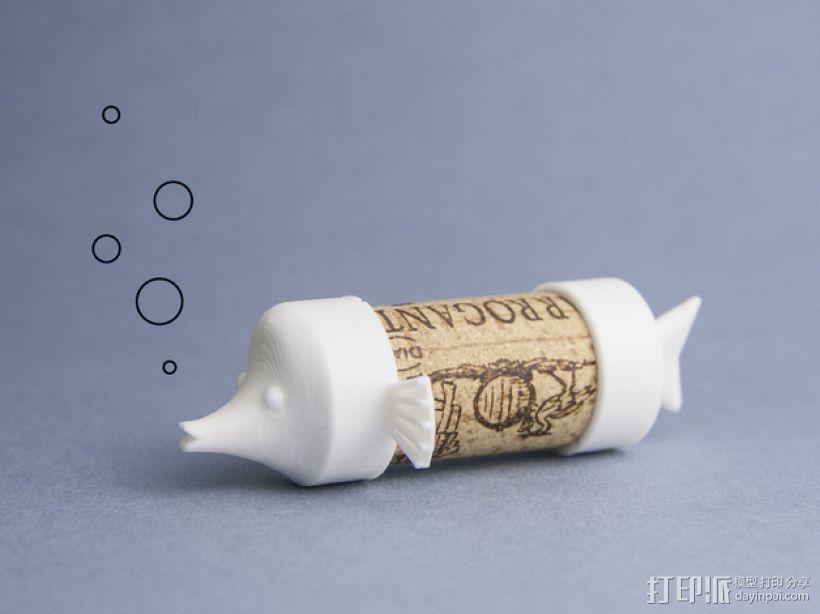 吹泡泡的软木鱼 3D打印模型渲染图