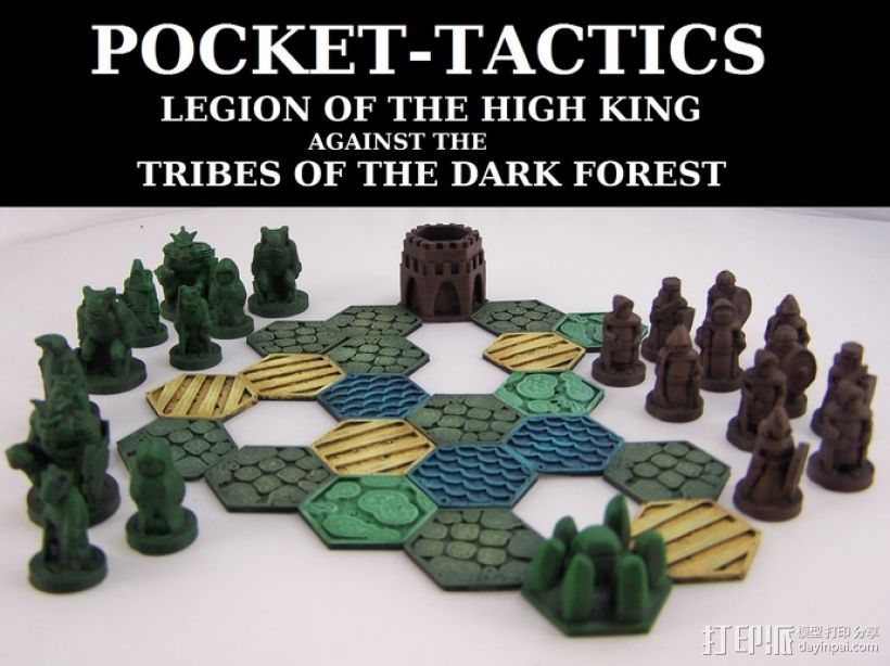 Pocket-Tactics系列游戏棋盘 3D打印模型渲染图