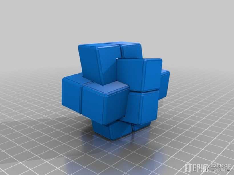 可随意扭转的立体拼图 3D打印模型渲染图