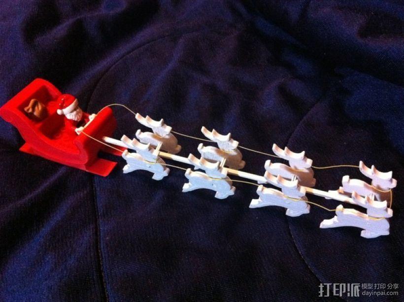 圣诞老人雪橇和8只小麋鹿 3D打印模型渲染图