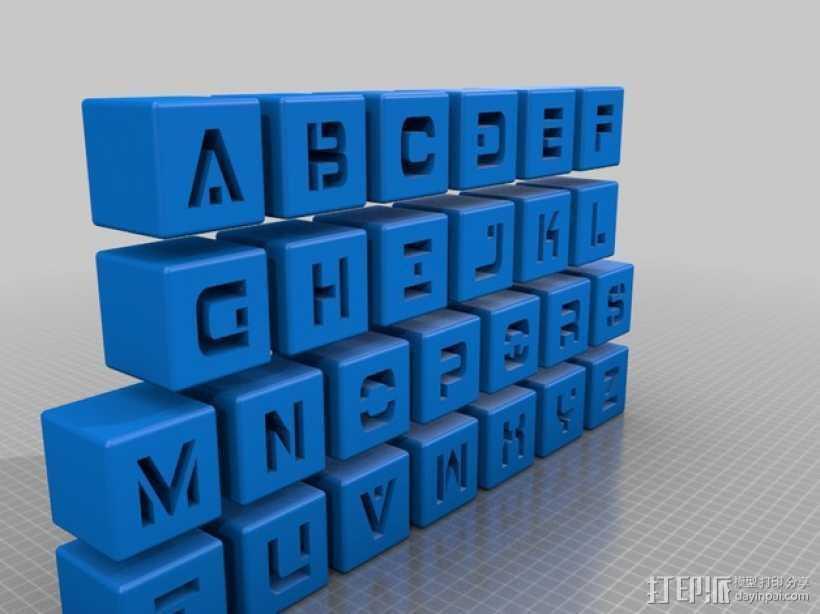 字母立方体 3D打印模型渲染图