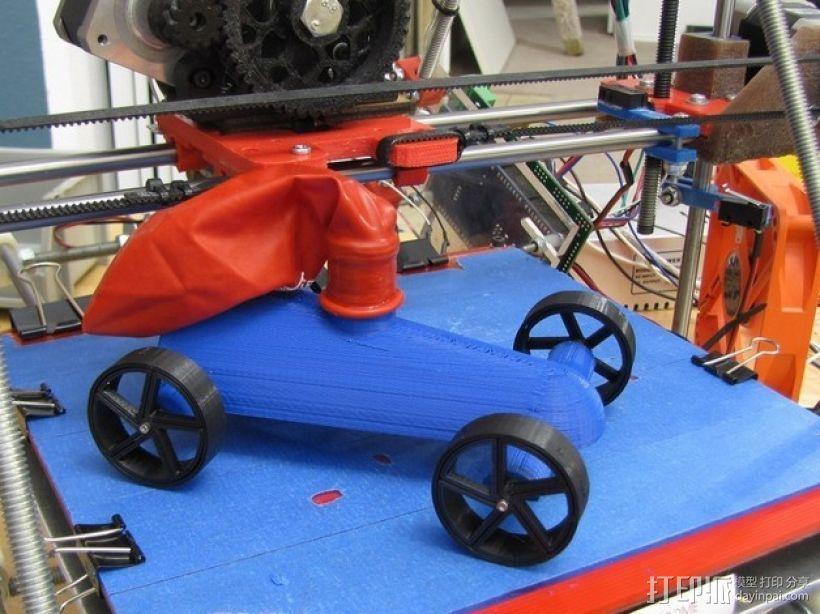 气球驱动汽车 3D打印模型渲染图