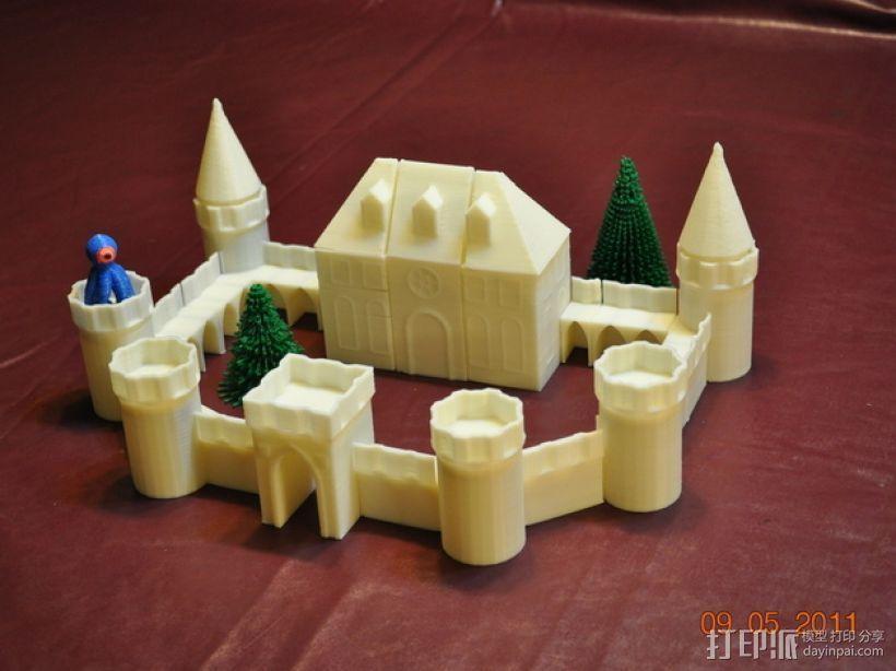 城堡模块玩具 3D打印模型渲染图