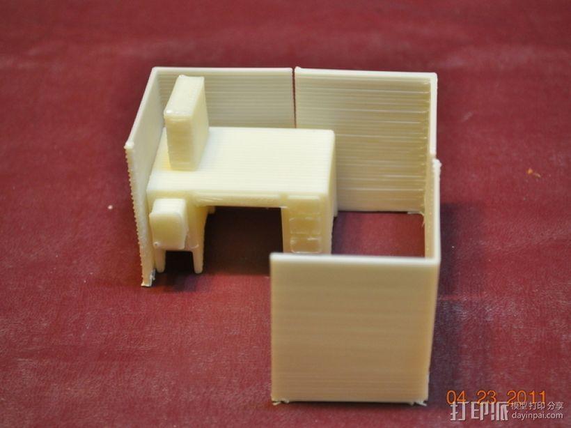 迷你隔间办公室 3D打印模型渲染图
