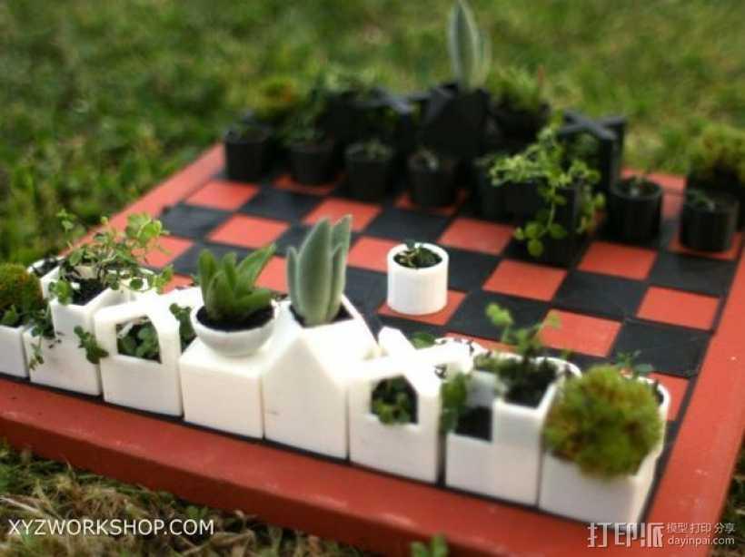 迷你植物象棋 3D打印模型渲染图