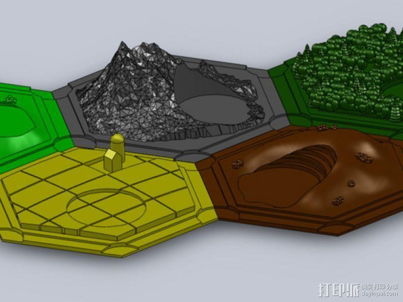 《卡坦岛》地形图 3D打印模型渲染图