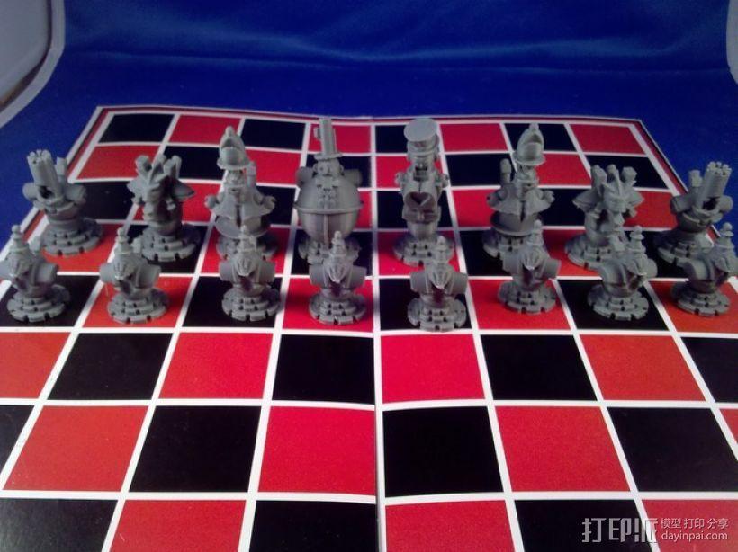 朋克风机器人棋子 3D打印模型渲染图
