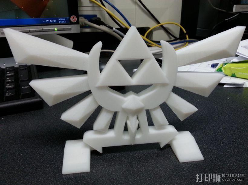 《塞尔达传说》标志 3D打印模型渲染图