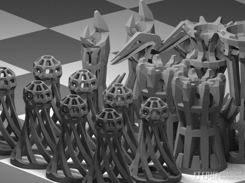 镂空象棋 3D打印模型渲染图