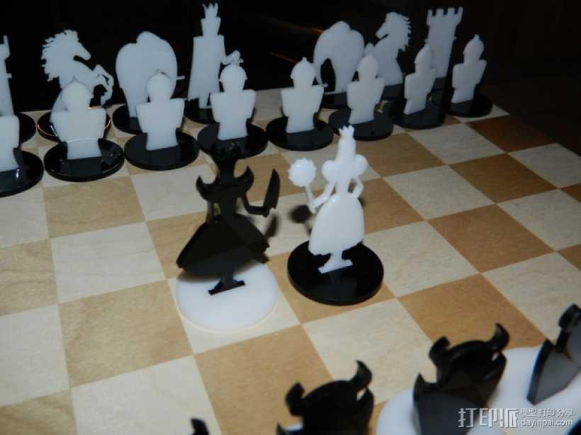 经典黑白象棋 3D打印模型渲染图