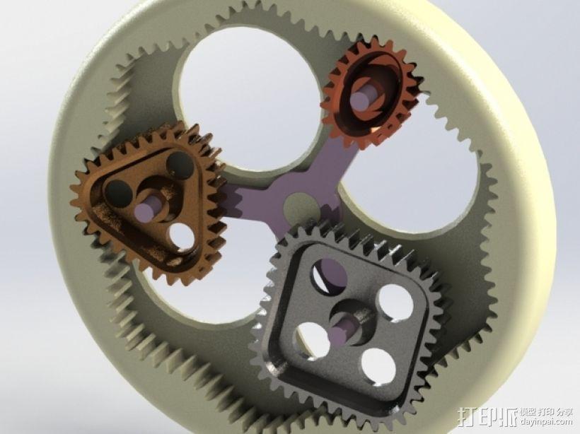 桌面式齿轮装置 3D打印模型渲染图