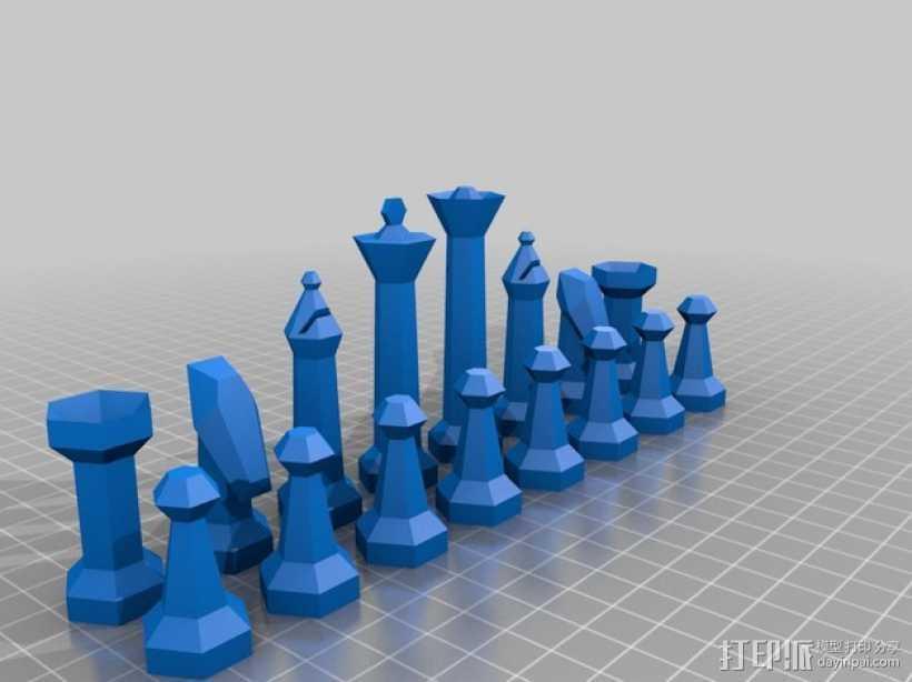 参数化象棋 3D打印模型渲染图