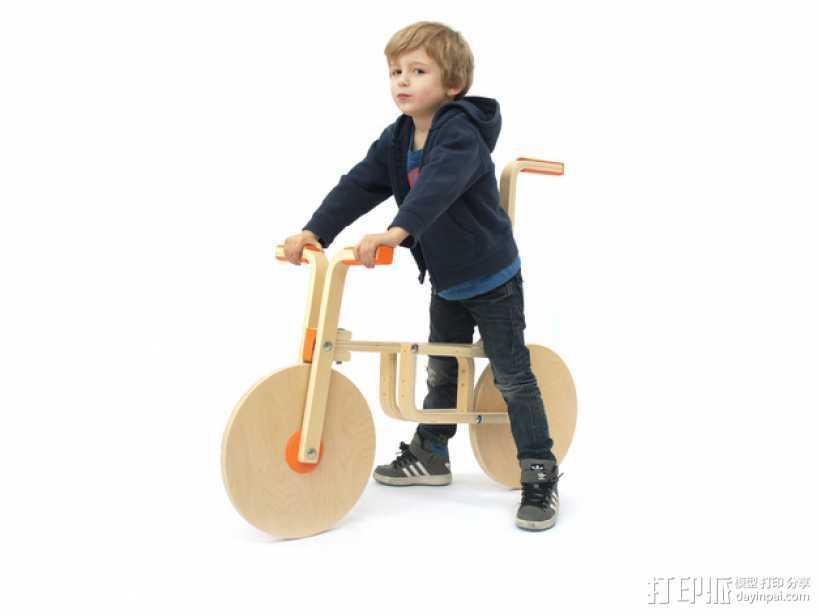玩具自行车Draisienne 3D打印模型渲染图