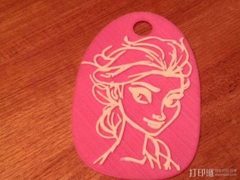 艾尔莎背包徽章 3D打印模型渲染图