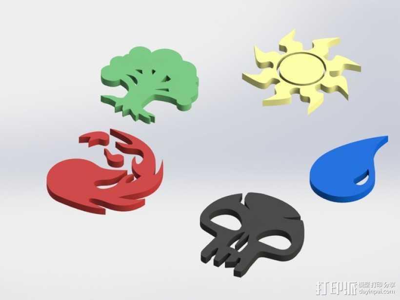 各种游戏徽章 3D打印模型渲染图