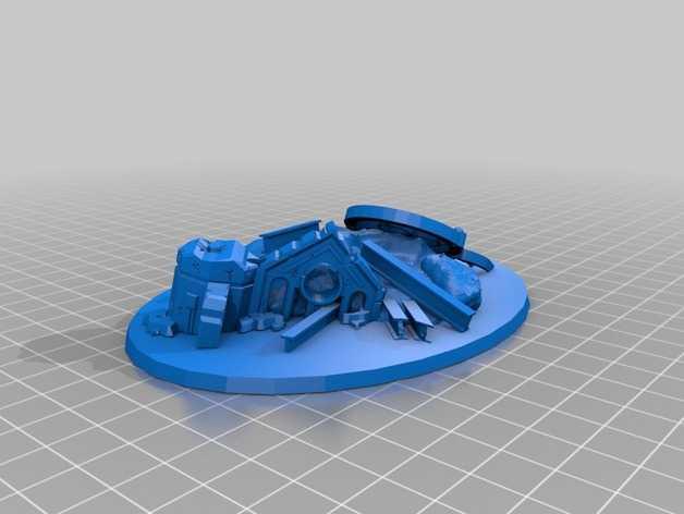 毁坏的飞行基地 3D打印模型渲染图