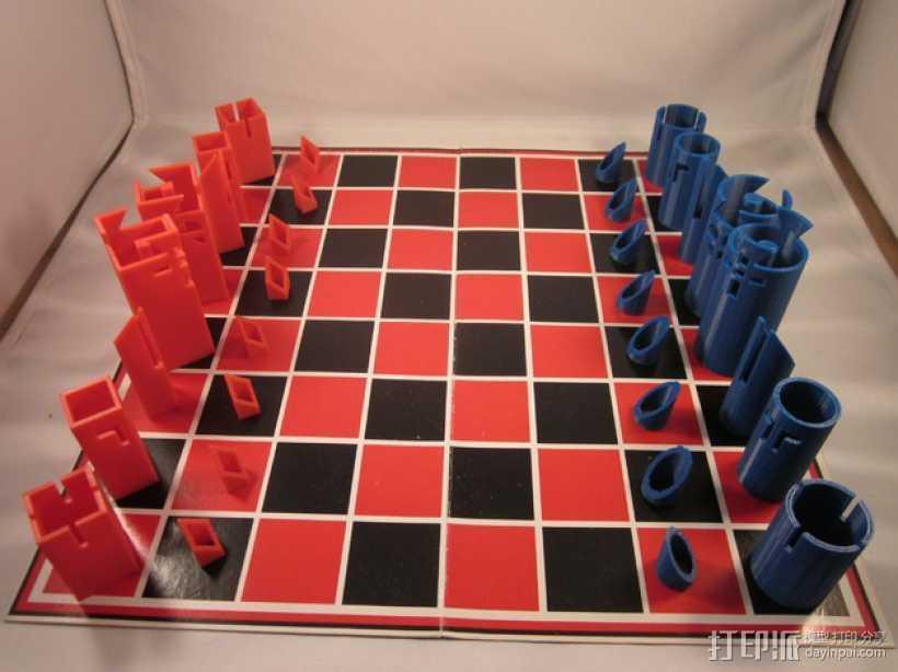 带有艺术气息的象棋 3D打印模型渲染图