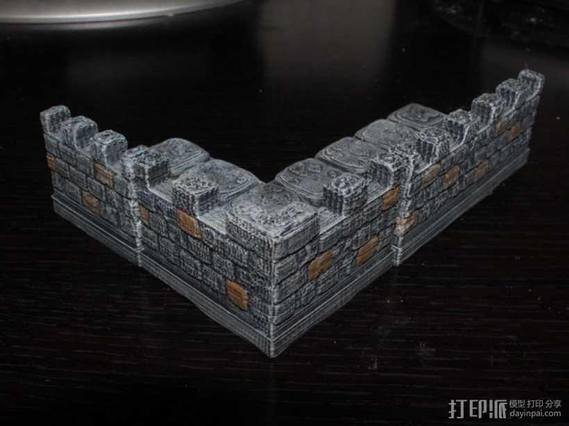 OpenForge带有炮眼的墙壁 3D打印模型渲染图