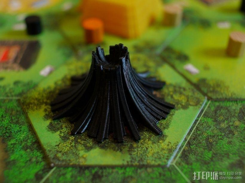 程式化火山模型 3D打印模型渲染图