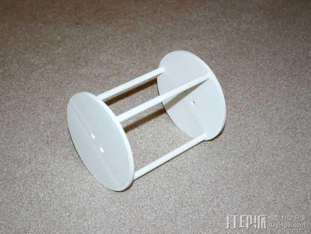 两轮橡皮筋驱动工具 3D打印模型渲染图