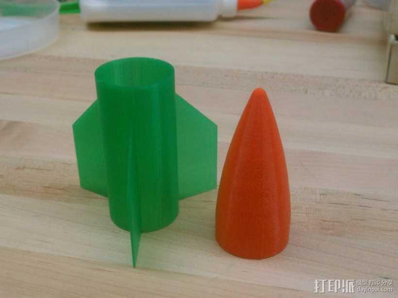 火箭弹的舵和头锥部分 3D打印模型渲染图