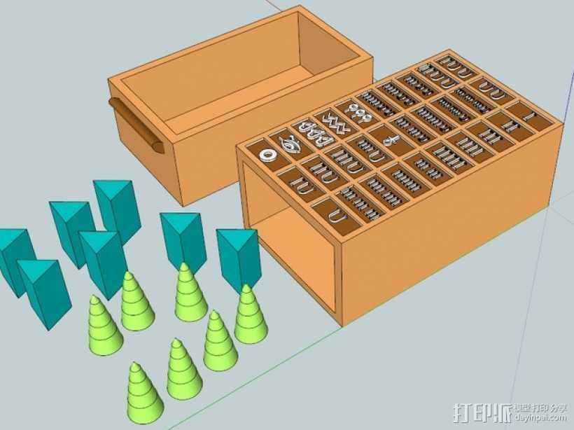 塞尼特棋游戏套件 3D打印模型渲染图