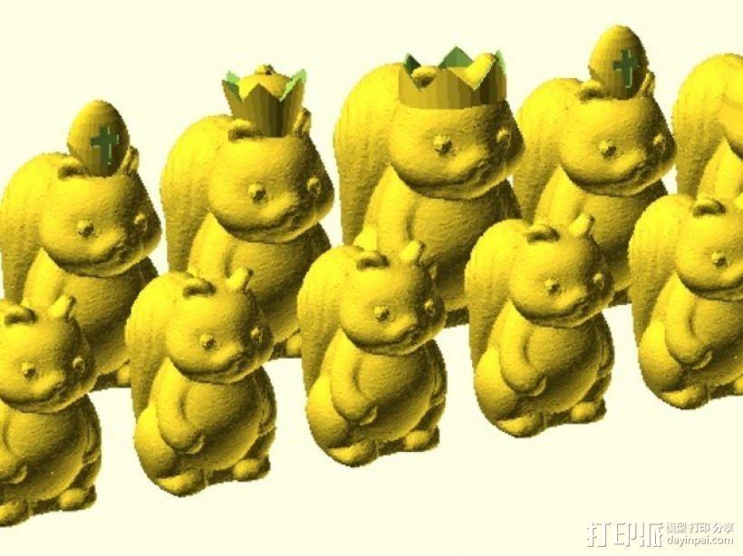 松鼠象棋 3D打印模型渲染图