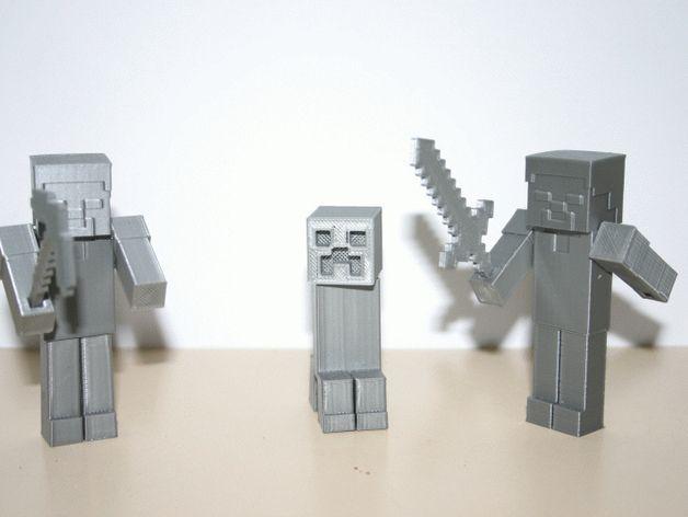 Minecraft:爬行者 3D打印模型渲染图