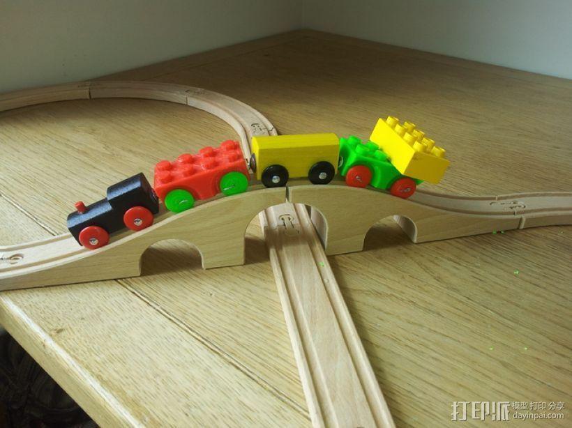 方块拼成的玩具火车 3D打印模型渲染图
