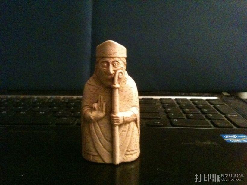 路易斯岛棋子:主教 3D打印模型渲染图