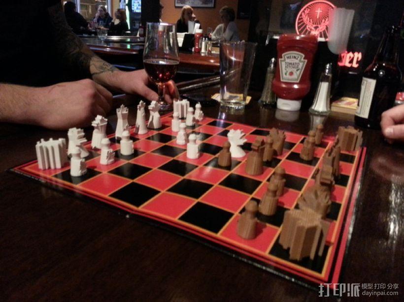 枫叶形象棋套件 3D打印模型渲染图