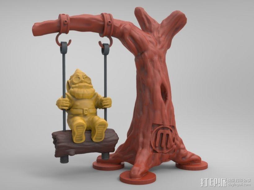 荡秋千的小矮人 3D打印模型渲染图