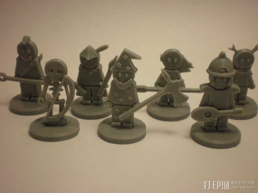 FlatMinis:战士 3D打印模型渲染图